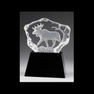 Engraved Corporate Crystal Animal Awards - Moose