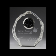 Iceberg Engraved Corporate Crystal Clock Award