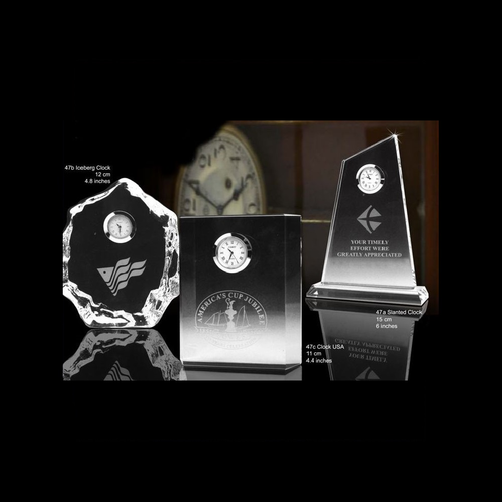 Engraved Corporate Crystal Clock Awards Trophies