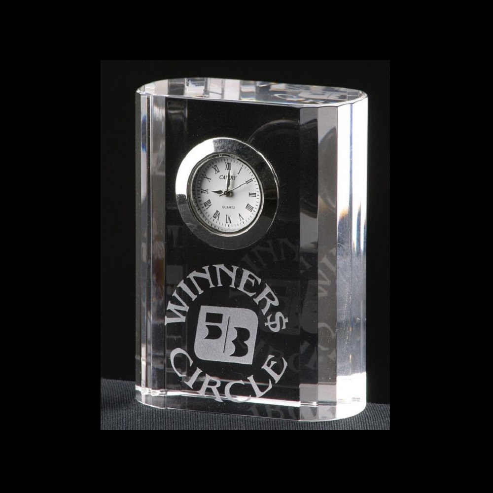Engraved Corporate Crystal Clock Awards