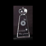 Engraved Corporate Crystal Apple Award on Tall Base