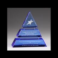 Engraved Corporate Crystal Recognition Awards - 3 Tier Blue Pyramid