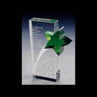 Engraved Corporate Crystal Recognition Awards - Shooting Star
