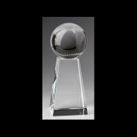 Engraved Crystal Baseball Awards Trophy - Medium Base
