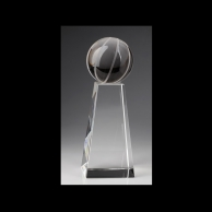 Engraved Crystal Basketball Awards Trophy - Medium Base