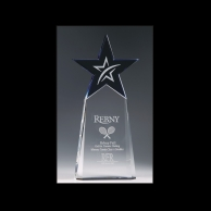 Engraved Crystal Tennis Star Awards Trophy
